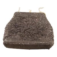 Vintage Black Beaded and Sequined Purse 1950's