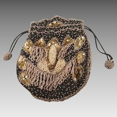 Vintage Beaded Drawstring Purse