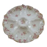 Vintage Haviland White with Pink Flowers Oyster Plate