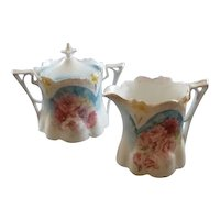 RS Prussia Red Mark Creamer and Sugar Bowl with Lid