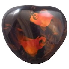 Koi or Goldfish design heart-shaped paperweight
