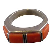 Southwestern Coral and Sterling Ring
