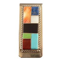 Southwestern Money Clip with Turquoise, Lapis and Coral Inlay