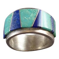 Southwestern Sterling Silver with Lapis and Turquoise Ring Size 10
