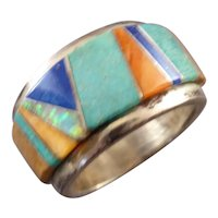 Southwestern Sterling Silver Ring with Turquoise, Opal, Lapis and Coral Size 10