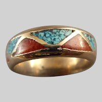 Southwestern Silver Ring with Turquoise and Coral Size 10