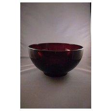 Vintage Red Glass Salad Bowl