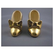 Vintage Miniature Ceramic Gold High-heeled Shoes With Bows