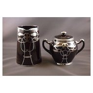 Langley Mill Pottery Jug and Sugar Basin with silver overlay