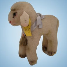 Steiff's Medium Lamby Lamb With All IDs and A Blue Ribbon