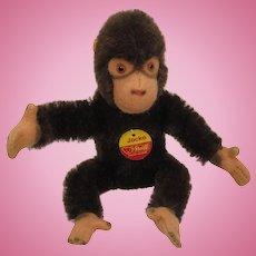 Steiff's Smaller Bendy Style Mohair Jocko Chimp With ID