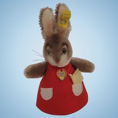 Steiff's Red Felt and Mohair Rabbit Nightcap Animal With All IDs