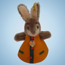 Steiff's Mohair Rabbit Nightcap Animal in an Orange Dress With All IDs