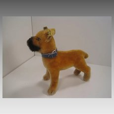 Steiff's Medium Sized Standing Mohair Boxer Dog With IDs