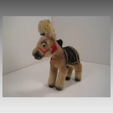 Steiff's Unusual, Late 1950's Mohair Army Mule With All IDs