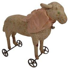 Extraordinary Rare, Early 20th Century Bing Brand Sheep on Wheels With ID