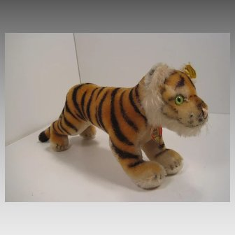 Steiff's Medium Sized Running Tiger Cub With All IDs