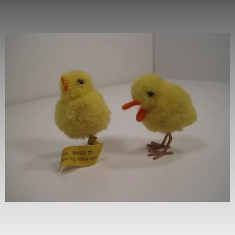 Two Absolutely Tiny Steiff Woolen Miniature Farm Bird Friends With IDs