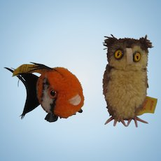 Two Tiny Steiff Woolen Miniatures - An Owl and a Fish - Both With IDs