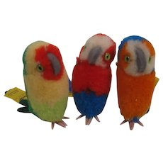 Three Steiff Woolen Miniature Parrots With All IDs