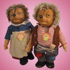 Steiff's Medium Sized Mecki and Micki Hedgehog Couple Dolls With IDs