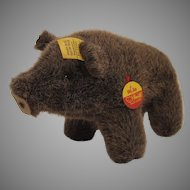 Steiff's Wulle Soft Plush Boar With All IDs