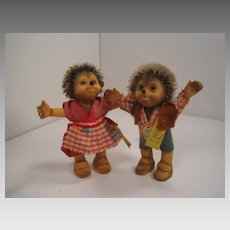 Steiff's Brother and Sister Macki and Mucki Hedgehog Dolls With IDs