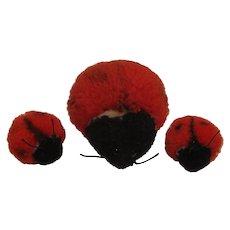 Steiff Collection of 3 Woolen Miniature Ladybugs