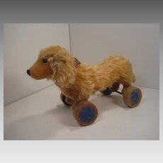 Steiff's Adorable, Pre-War Pull Toy Waldi Dachshund With IDs