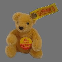Steiff's Small Bendy Style Maize Mohair Teddy Bear With All IDs