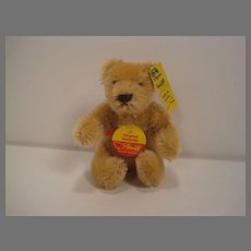 Steiff's Small Bendy Style Blonde Mohair Teddy Bear With All IDs