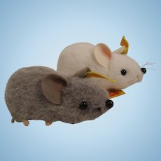 A Pair of Steiff's Soft Plush Fieps Mice With All IDs