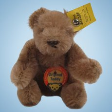 Steiff's Smallest Caramel Mohair Bendy Style Teddy Bear With All IDs