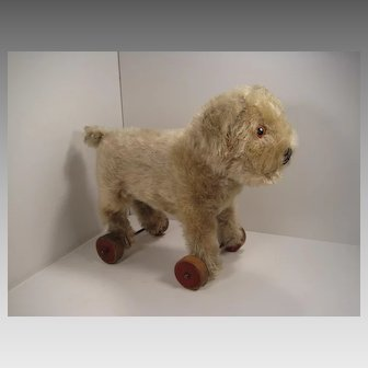 Steiff's Largest PreWar Standing Molly Dog on Wheels With IDs