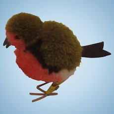 Steiff's Woolen Miniature Red Robin Bird With All IDs