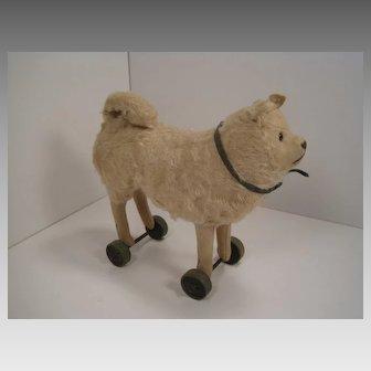Steiff's Smallest Mohair and Felt Pomeranian Dog on Wooden Wheels