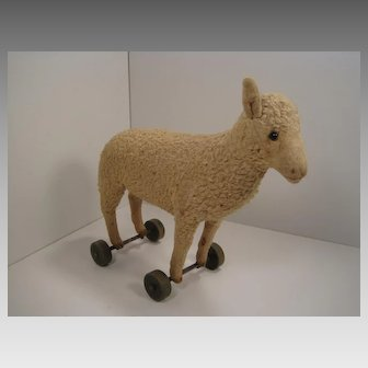 Steiff's Very Early Lamb's Wool Plush Lamb on Wooden Wheels