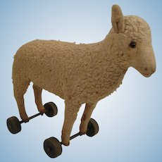 Steiff's Very Early Lamb's Wool Plush Lamb on Wooden Wheels