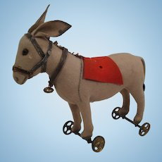 Steiff's Very Early Felt Donkey On Metal Wheels With ID