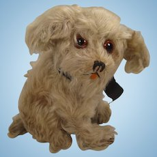 1920s-era Sitting Mohair Dog With Great Huge Glass Eyes