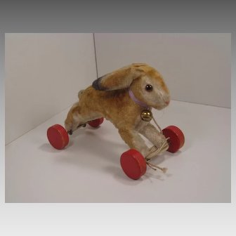 Steiff's Fabulous and Extremely Rare Silk Plush Running Rabbit On Wheels