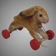 Steiff's Fabulous and Extremely Rare Silk Plush Running Rabbit On Wheels