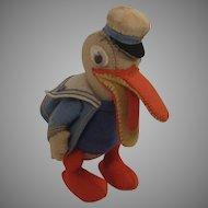 Lovely 1930s Era Felt Toy Duck In A Sailor's Outfit