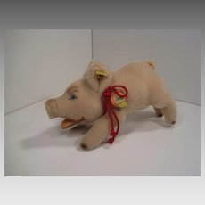 Steiff's Jolanthe Pink Mohair Pig With All IDs