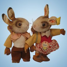 Steiff Bib and Bibbie Hare Pair With IDs