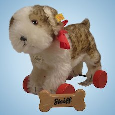 Steiff's Standing Molly the Puppy on Eccentric Red Wooden Wheels With All IDs