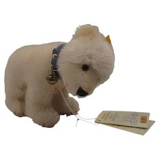 Steiff Replica Standing White Mohair Polar Bear Cub With All IDs