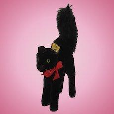 Steiff Medium Sized Black Mohair Tom Cat With IDs