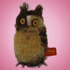 Steiff Woolen Miniature Owl With ID