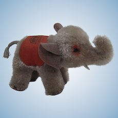 Steiff's 1955 Only Smallest Sized Anniversary Elephant With Specially Imprinted Blanket